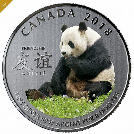 2018 The Peaceful Panda 加中友谊 彩色大熊猫 纯银纪念币 29.95加元!