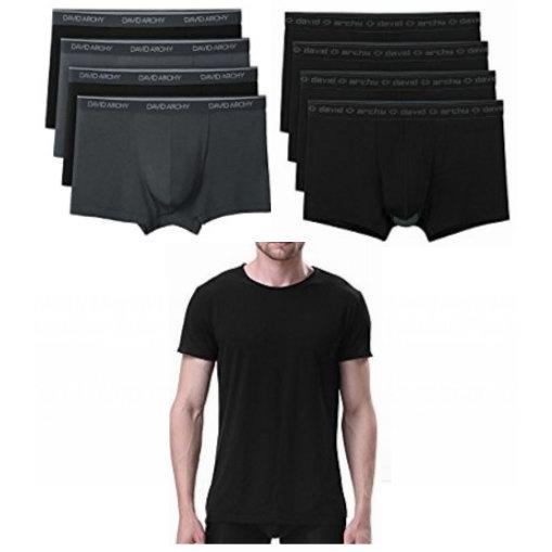 金盒头条:精选多款 David Archy 天然竹纤维 男士T恤、四角内裤超值装4.7折起!多色可选!