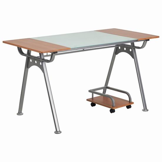 白菜价!Flash Furniture 钢化玻璃 时尚电脑桌2.7折 80.66加元包邮!