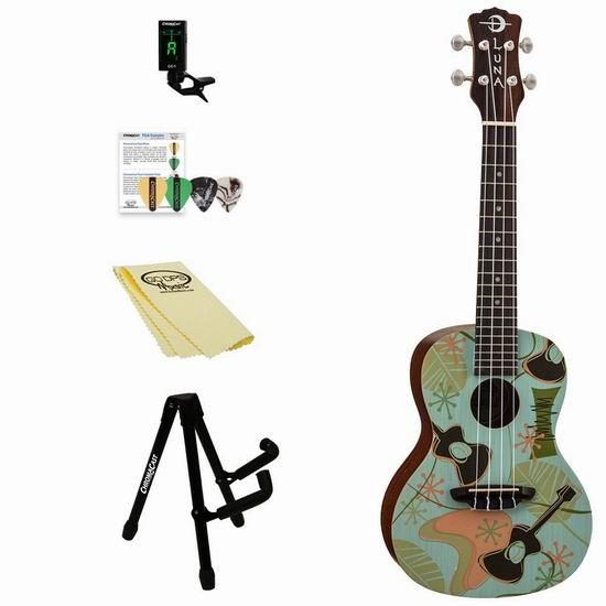 历史新低!Luna Guitars Concert Ukulele 夏威夷小吉他/尤克里里套装2.8折 68.97加元清仓并包邮!