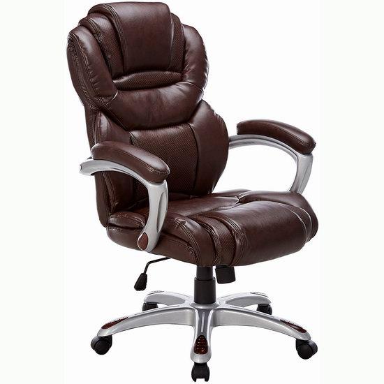 历史新低!Flash Furniture GO-901-BN-GG 豪华加厚 高靠背真皮 旋转办公椅3.4折 172.61加元包邮!