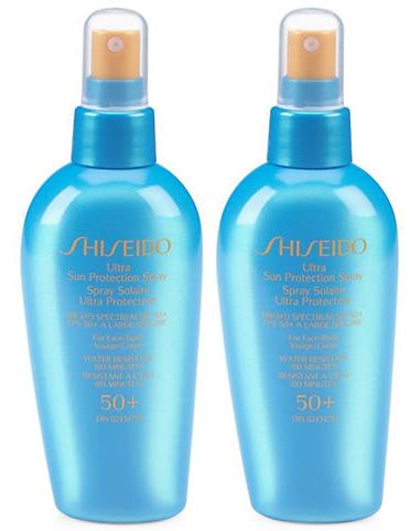 Shiseido 资生堂 Ultra SPF 50+ 防晒喷雾(150ml x 2瓶)超值装 60加元包邮!送价值76加元6件套大礼包!
