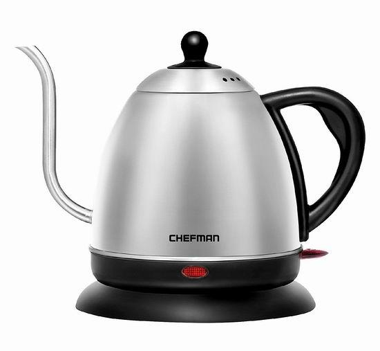 金盒头条:历史新低!Chefman RJ11-GN 1升 不锈钢电热水壶3.2折 31.99加元!