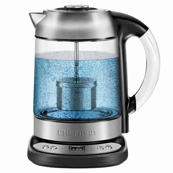 金盒头条:历史新低!Chefman RJ11-17-SPG 1.7升 泡茶/烧水二合一 精确温控 电热水壶4.3折 51.95加元包邮!