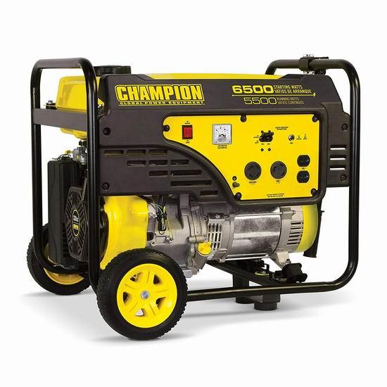 历史新低!Champion Power Equipment 100247 5500瓦 338cc 便携式汽油发电机4.4折 620.71加元包邮!