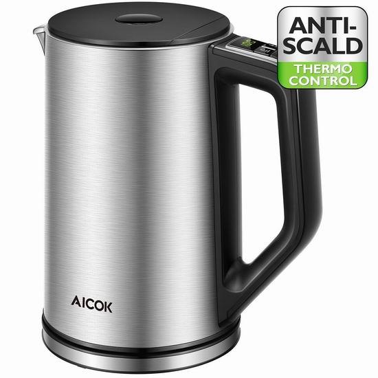 Aicok 1.5升 双壁不锈钢保温 可编程 任意温控 电热水壶 54.39加元限量特卖并包邮!