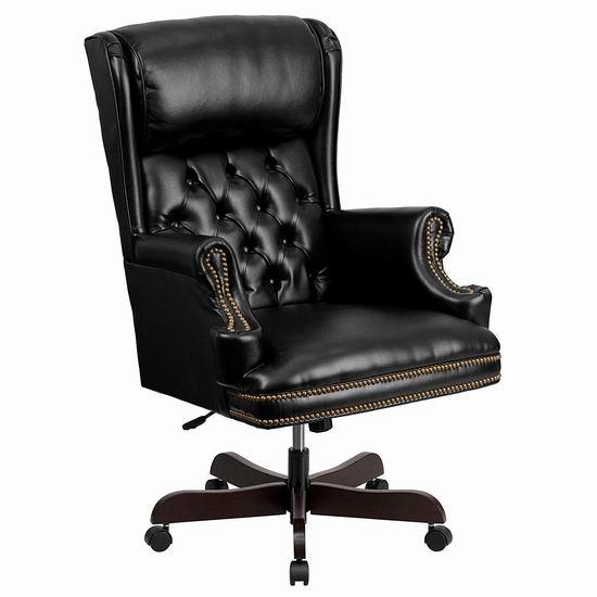 白菜价!Flash Furniture CI-J600-BK-GG 黑色豪华 高靠背 真皮办公椅1.5折 217.91加元包邮!