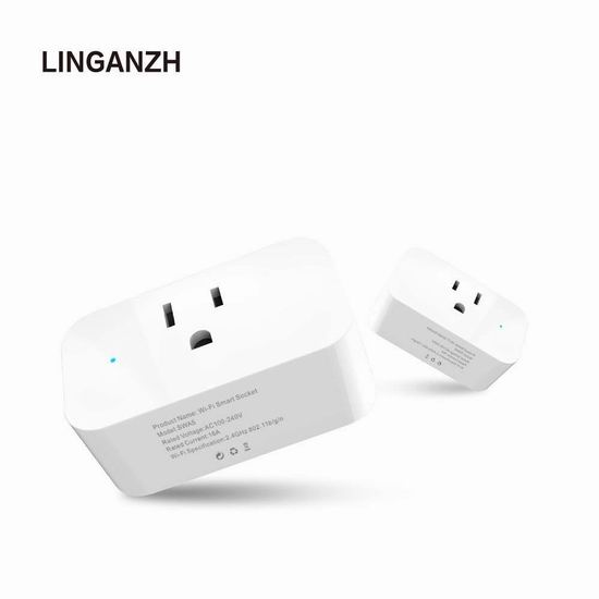 LINGANZH WiFi智能插座2件套 18加元限量特卖!单个装8.15加元!