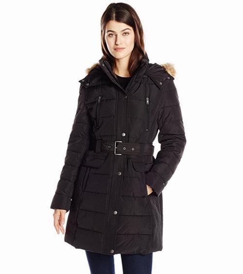 Tommy Hilfiger 女士中长款带帽防寒服 黑色款  64.75加元(S码),原价 415加元,包邮
