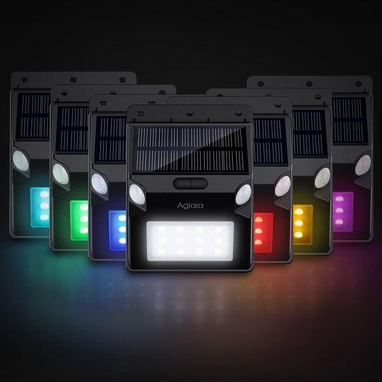 白菜价!历史新低!Aglaia 12 LED 双探头 RGB变色 太阳能防水运动感应灯3折 8.99加元清仓!