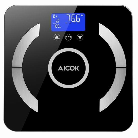 历史新低!Aicok 高精度智能体脂/体重分析秤6.4折 23.09加元!
