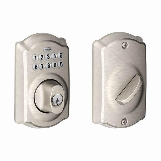 历史新低!Schlage 西勒奇 BE365 CAM 缎面镀镍 家用密码门锁4.3折 76.75加元包邮!