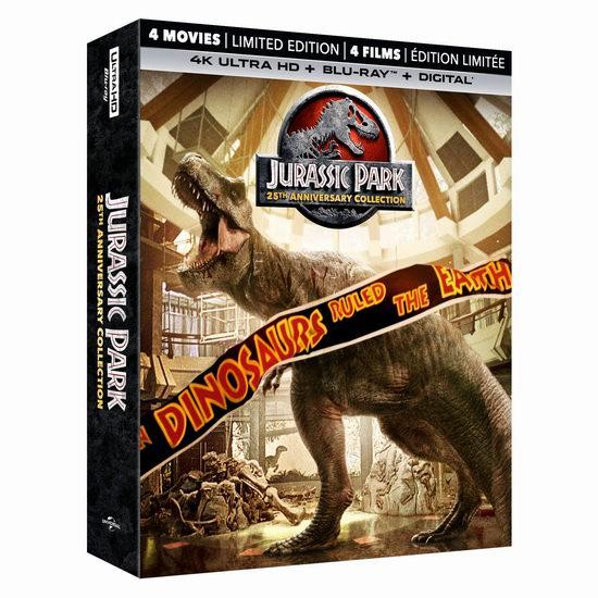 金盒头条:Jurassic Park《侏罗纪公园》1-4全集 4K超高清蓝光版46.99加元、(蓝光3D+蓝光) 25.99加元、DVD版19.99加元!