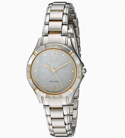 近史低价!Citizen 西铁城 EM0454-52A 镶钻光动能女式腕表/手表 187.18加元包邮!