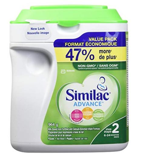 精选2款 Similac Similac advance step 1/2 婴儿配方奶粉 37.03加元(964 g),原价 43.98加元,包邮