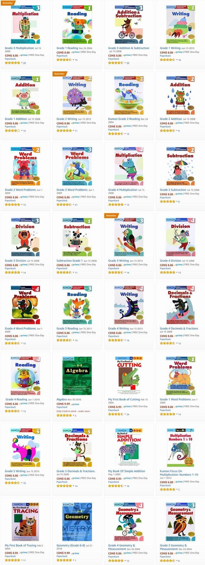 风靡北美!精选 Kumon 全系列教育丛书 8.86加元起特卖!