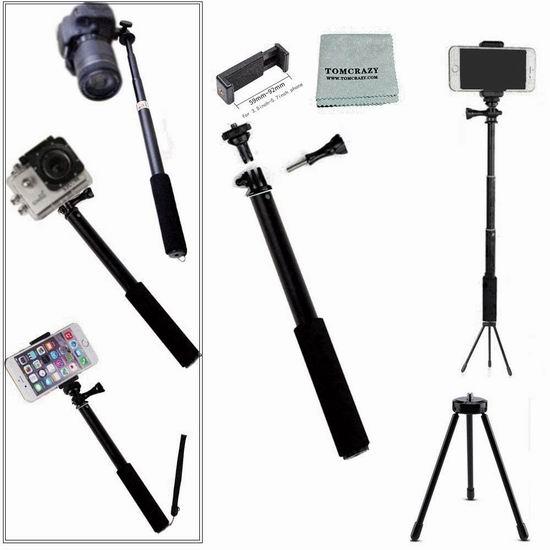 历史新低!Tomcrazy 二合一 多用途 手机/相机/运动相机 便携式自拍杆/三脚架 8.49加元限量特卖!