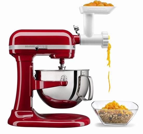 金盒头条:KitchenAid  专业系列 KL26M1BGER 6夸脱1马力超大功率 立式多功能搅拌厨师机 + 绞肉配件5.8折 399.99加元包邮!2色可选!变相比Costco便宜89.99加元!