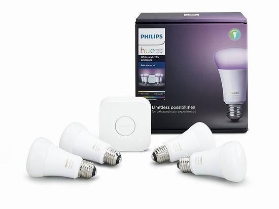 近史低价!Philips 飞利浦 Hue 智能焕彩家庭照明系统 159.99加元包邮!