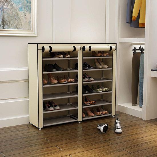历史新低!MULSH 带防尘罩 双排六层鞋架5.3折 19.99加元限量特卖!