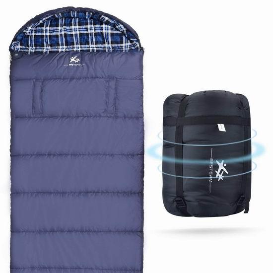 BESTEAM 零度保暖 加大号 法兰绒睡袋4.7折 39.99加元包邮!