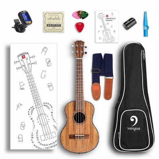 历史新低!Vangoa UK-21K Soprano 21寸 夏威夷小吉他/尤克里里6.2折 39.99加元包邮!配送各种附件!