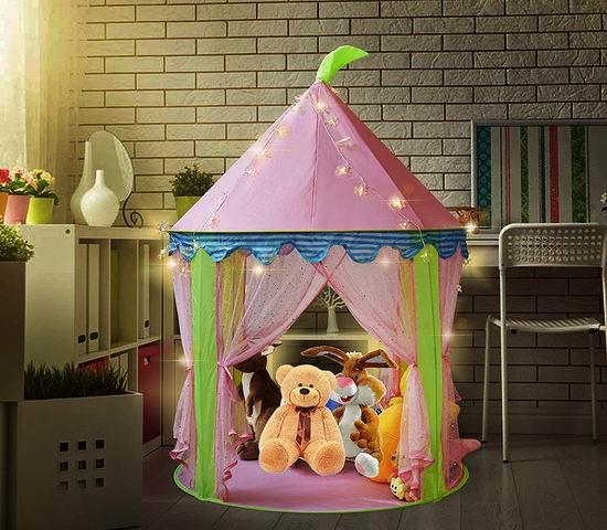 历史新低!KINDEN 雪花LED灯饰 粉红超美公主帐篷 25.49加元限量特卖!