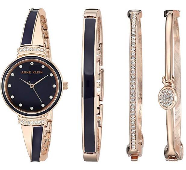 白菜价!Anne Klein AK/2716RNST 施华洛世奇水晶 女士玫瑰金腕表+手镯套装3.8折 83.72加元包邮!