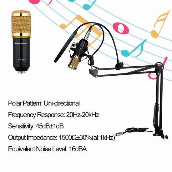 历史新低!Excelvan BM-800 专业录音麦克风+桌面支架+挡风罩套装4.2折 32.99加元清仓!
