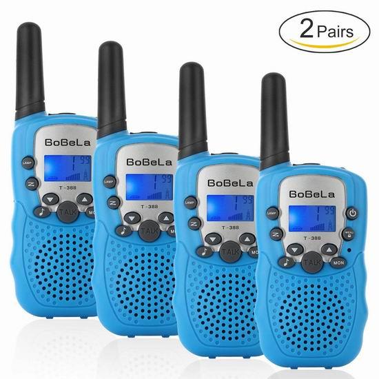 历史新低!Bobela T388 儿童远距离 22频道 无线手台/对讲机4件套5.3折 34.99加元!3色可选!