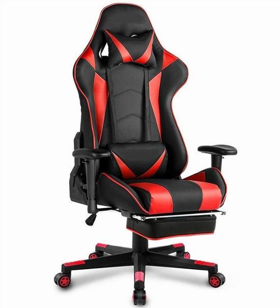 Trumchi 人体工学 记忆海绵 红色高靠背赛车办公椅/游戏椅 167.99加元起限量特卖并包邮!