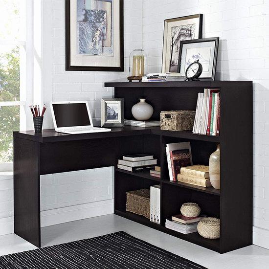 历史新低!Altra Furniture Trillium Way 咖啡色L型书桌+书柜组合5折 201.97加元包邮!