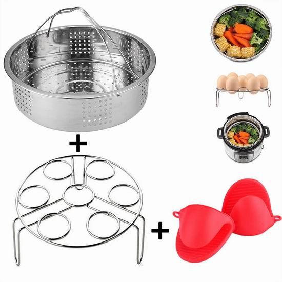 KALAPOP 不锈钢蒸格+蒸架+硅胶防烫手套3件套 18.14加元限量特卖!Instant Pot电压力锅专用!