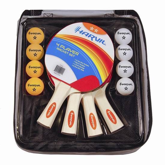 白菜价!历史新低!Harvil 乒乓球拍套装(4球拍+8球)2折 7.99加元清仓!
