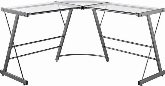 历史新低!Ameriwood Home Odin L型时尚钢化玻璃办公桌5.1折 102.97加元包邮!