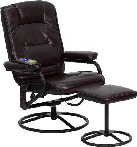 近史低价!Flash Furniture BT-703-MASS-BN-GG 皮制舒适按摩躺椅+脚踏5.3折 184.78加元包邮!
