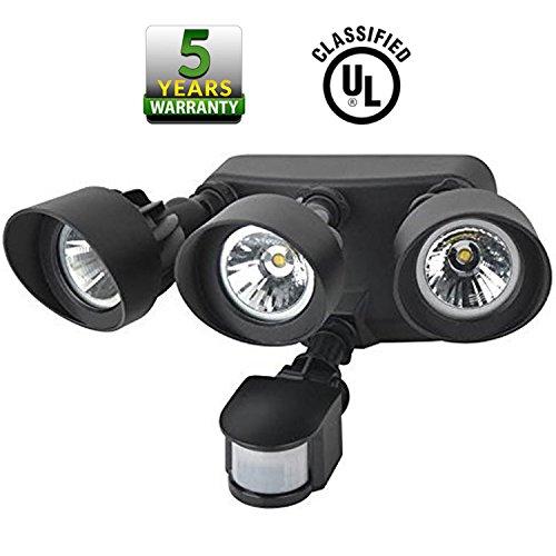 超级白菜!SC Lighting 三灯头超亮 室外LED节能 运动感应灯1折 9.99加元清仓!