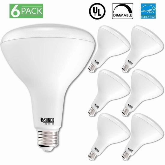 超级白菜!Sunco Lighting E26 可调亮度 100瓦等效 LED节能灯6件套1.4折 9.99加元清仓!