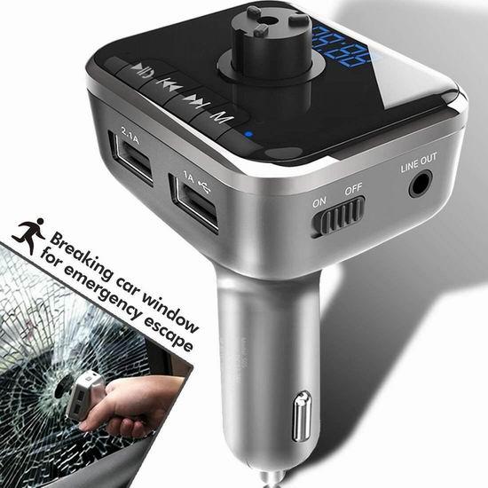 历史新低!Heiyo 蓝牙无线 车载FM调频转换器+MP3播放器+免提电话+USB充电+破窗器3.3折 9.99加元清仓!