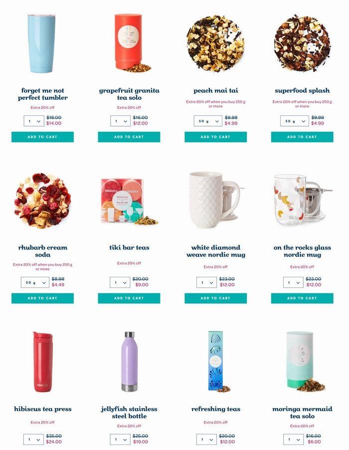 精选 David's Tea花果茶、茶具、茶杯3折起+额外8折优惠!