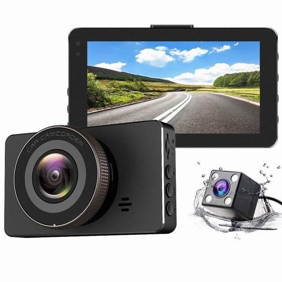白菜价!历史新低!Gtopin 1080P高清170度超广角夜视 前后双摄像头 辅助倒车 行车记录仪3.9折 34.99加元包邮!