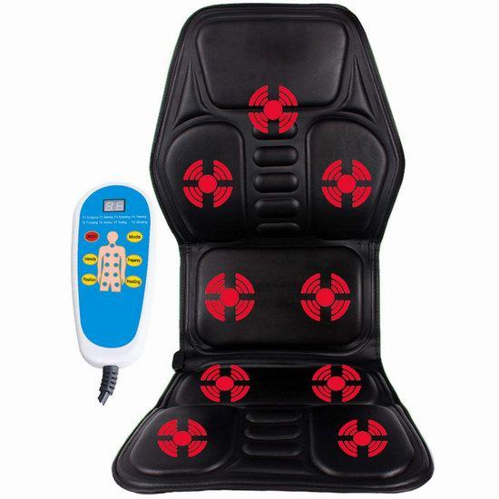 Calvin&Sally 多功能 揉捏指压震动加热 8模式按摩椅垫3.5折 49.99加元包邮!