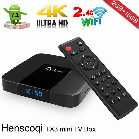 白菜价!历史新低!Henscoqi TX3 纯净版 网络电视机顶盒(2G/16G)3.8折 24.98加元清仓!
