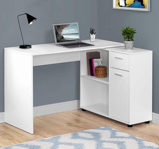 历史新低!Monarch Specialties I 7350 白色时尚 L型电脑桌/书桌 149.97加元包邮!