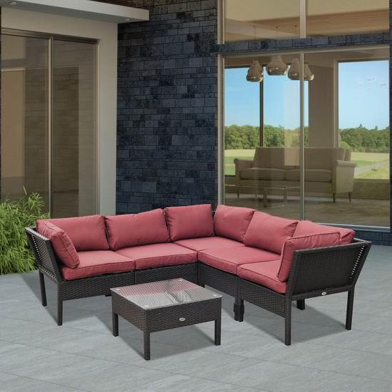 Outsunny 庭院软垫藤条沙发+茶几6件套3.5折 449.99加元包邮!