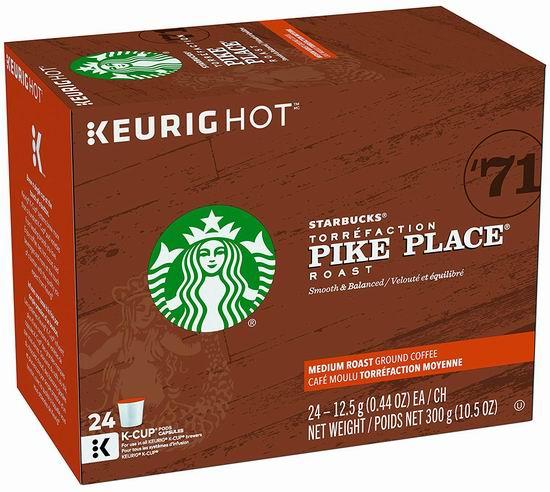历史新低!Starbucks 星巴克 Pike Place Roast K-Cup 咖啡胶囊24粒5.8折 16.04加元包邮!