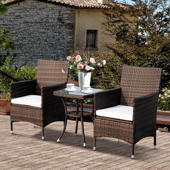 历史新低!Outsunny 庭院软垫藤条沙发+茶几3件套5.4折 135.99加元包邮!