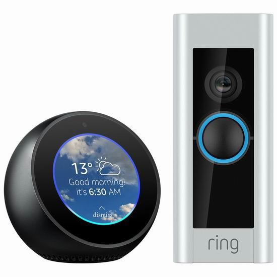 历史新低!Ring Pro 第二代智能门铃 + Echo Spot 智能音箱超值装4.5折 199.99加元包邮!