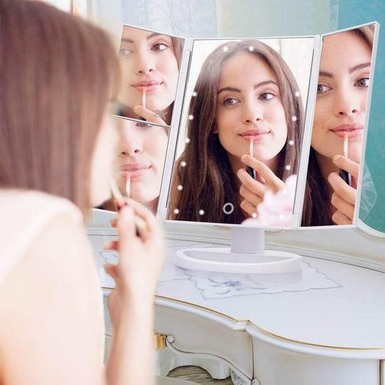 EECOO 三折式 LED照明 化妆镜 10.99加元限量特卖!