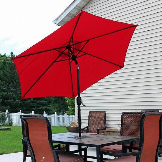 历史新低!Sunnydaze 7.5英尺 可倾斜 庭院遮阳伞4.4折 61.99加元包邮!4色可选!